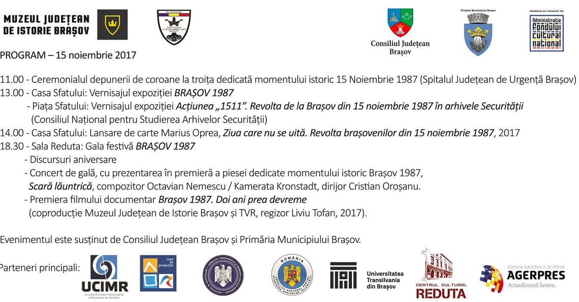 Program 15 noiembrie Brasov